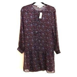 NWT Fall Dress Petite LOFT Sheer Floral Large